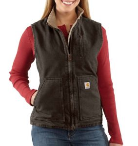 Kamizelka Carhartt Sandstone Mock Neck Vest DARK BROWN