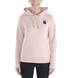 Bluza Carhartt Clarksburg Sleeve Logo Hooded Sweatshirt ROSE SMOKE HEATHER