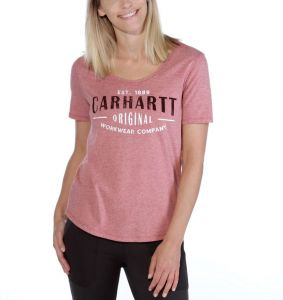 Koszulka Carhartt Lockhart Graphic Workwear Scoop-Neck T-Shirt BRICK DUST HEATHER