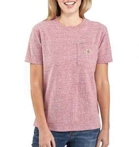 Koszulka Carhartt WK87 Workwear Pocket S/S T-Shirt DARK BARN RED SNOW HEATHER