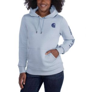 Bluza Carhartt Clarksburg Sleeve Logo Hooded Sweatshirt SOFT BLUE HEATHER