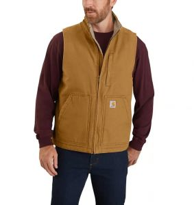Kamizelka Carhartt Washed Duck Sherpa-Lined Mock-Neck Vest CARHARTT® BROWN